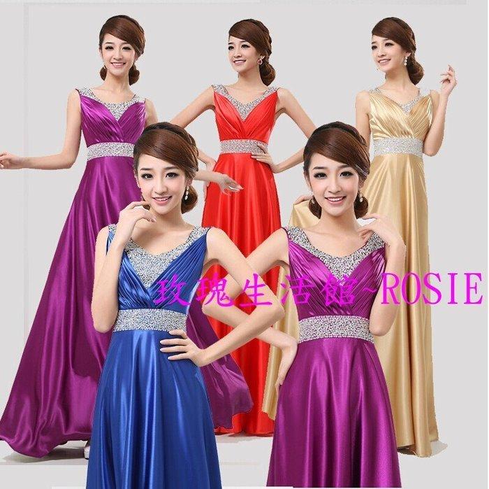 【玫瑰生活館】~ROSIE無袖亮片長禮服,音樂會,合唱服主持服,