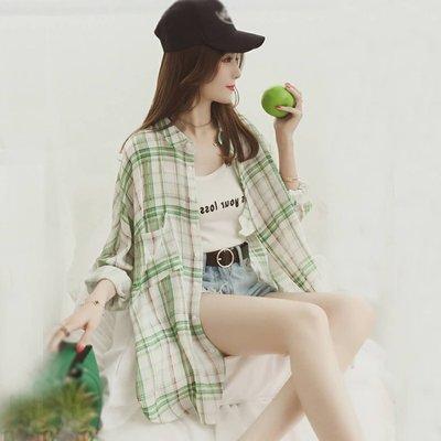春装2018新款韩版bf风宽松长袖格子衬衫女中长款防晒开衫衬衣外套