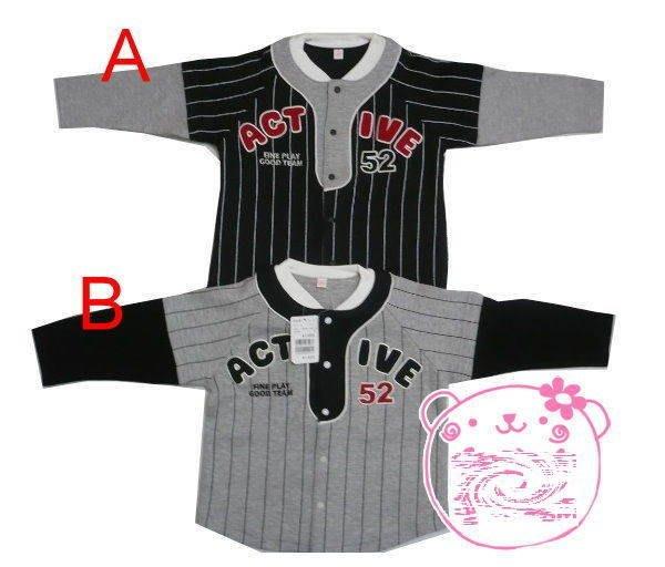 帥氣《棒球 假兩件》長袖上衣 (L4-2)