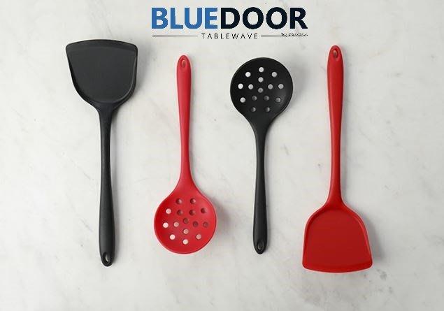 BlueD_ 食品級 耐熱 矽膠 耐高溫 鍋鏟 撈麵瓢 漏瓢 漏勺 紅黑 北歐風 廚用無毒不傷鍋 創意設計裝潢 新居入遷