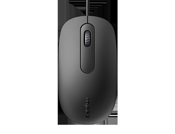 Rapoo 雷柏 N200 有線光學滑鼠-黑 USB接頭 1600DPI 左右手對稱設計 台南PQS