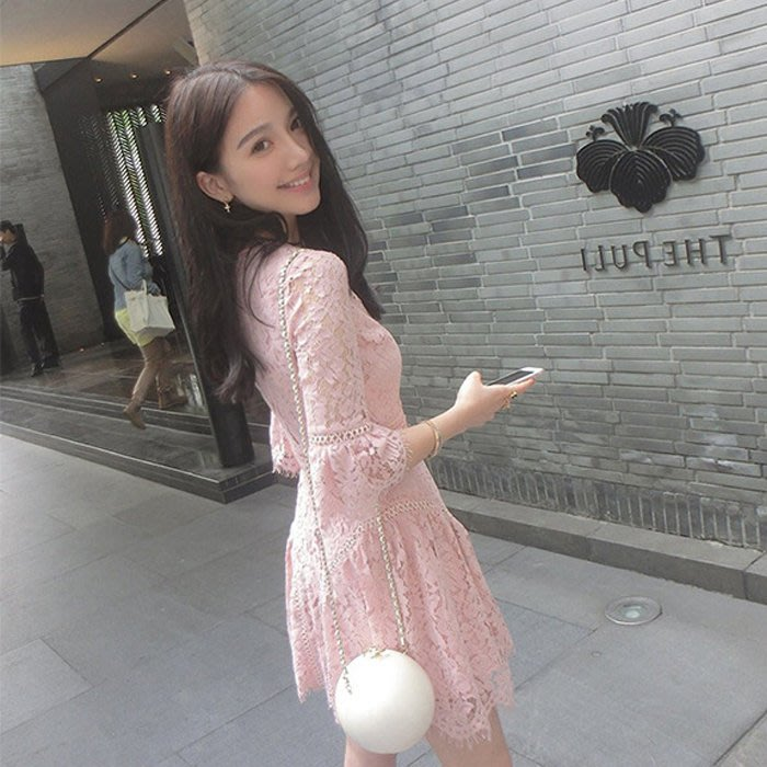 FORMINI 小香風粉嫩蕾絲氣質五分袖洋裝(現貨) 喜宴 喜酒 謝師宴 裙