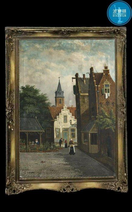 【波賽頓-歐洲古董拍賣】歐洲/西洋古董 荷蘭古董 19世紀 手繪荷蘭哈崙(Haarelm)城市街景油畫(尺寸:108×78公分)(落款:Jan.PEYPERS)