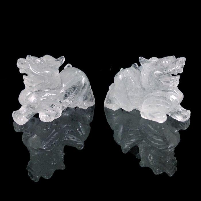 《博古珍藏》天然巴西白水晶貔貅一對.608公克.鎮宅開運風水招財.辦公室擺飾.底價回饋