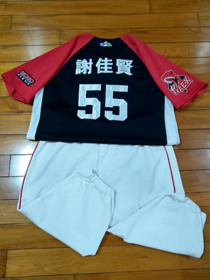 中華職棒19年 米迪亞暴龍 謝佳賢 比賽實戰球衣含球褲 金剛 太陽 誠泰 興農 送Qman公仔 跟實戰球棒