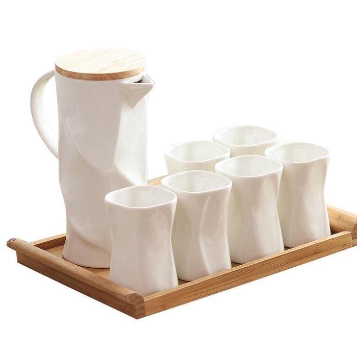 陶瓷冷水壺 北歐簡約水杯組合耐熱配託盤 果汁壺套裝日式家居(C)_☆找好物FINDGOODS ☆