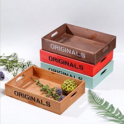 千夢貨鋪-木質桌面復古花盆多肉雜物收納...