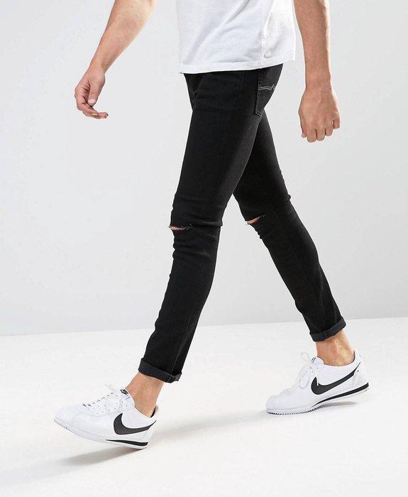 ◎美國代買◎ASOS 超顯廋好看割破式雙膝刷破可反摺褲管貼合身有彈性黑色破合身牛仔褲~歐美街風~大尺碼~