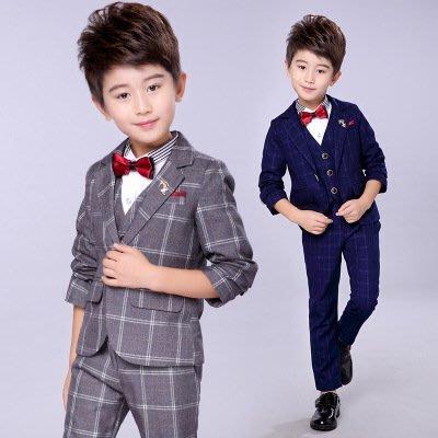 【衣Qbaby】男童禮服秋冬格子西服花童鋼琴演出兒童禮服五件套(外套+馬甲+上衣+領結+長褲)