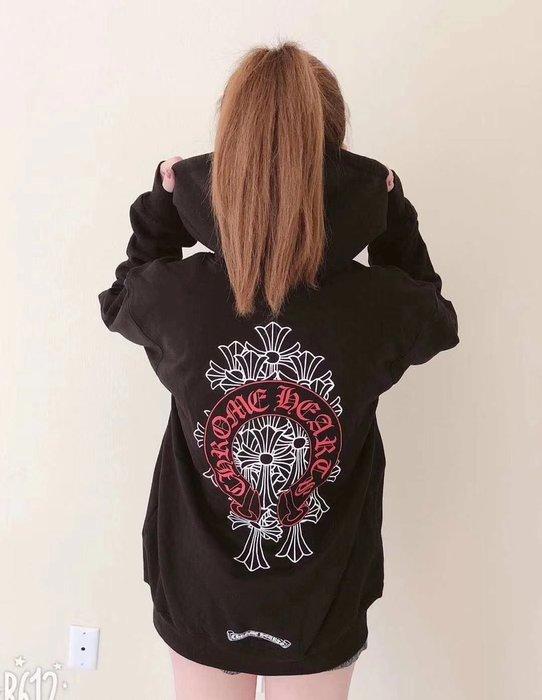 【TONES.】CHROME HEARTS 十字架設計 馬蹄Logo 連帽外套 克羅心 黑紅配色