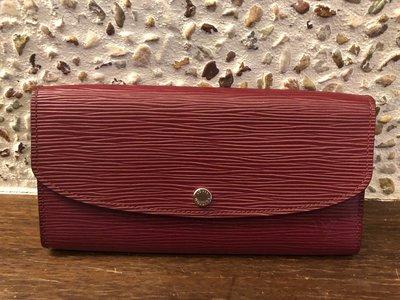 LV紫紅雙色水波紋長夾