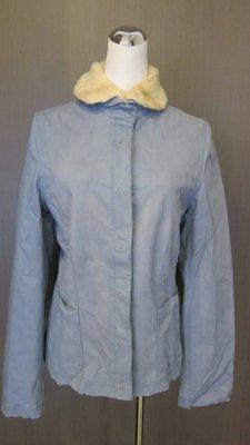 義大利名品~~DARING~~天空藍棉質裹皮草毛多功能型外套~~春秋冬皆可~皮草是可以拆開的~~