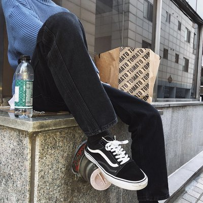 工裝褲 休閒褲 新款冬裝潮男韓版水洗黑修身直筒牛仔褲長褲ins網紅