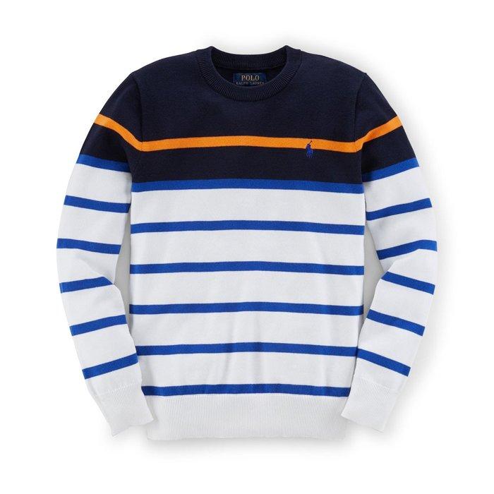 美國百分百【Ralph Lauren】針織衫 RL 線衫 Polo 小馬 小馬 圓領 深藍白 條紋 XS號 H119