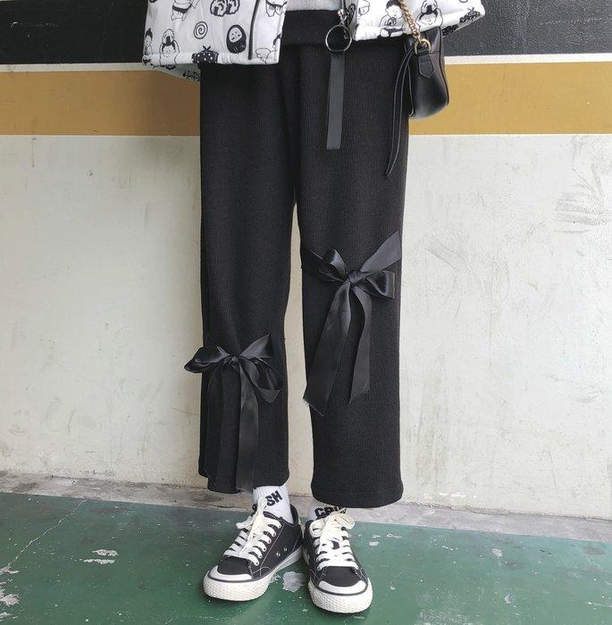 SeyeS  fruits街頭個性蝴蝶結緞帶設計感直筒寬褲