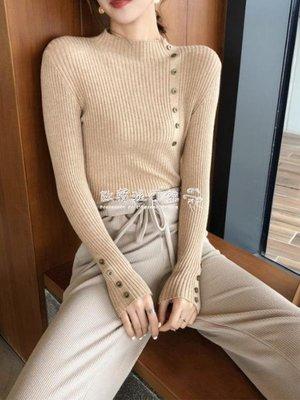 高領打底上衣  時尚韓版半高領顯瘦針織衫修身長袖打底套頭毛衣女上衣潮