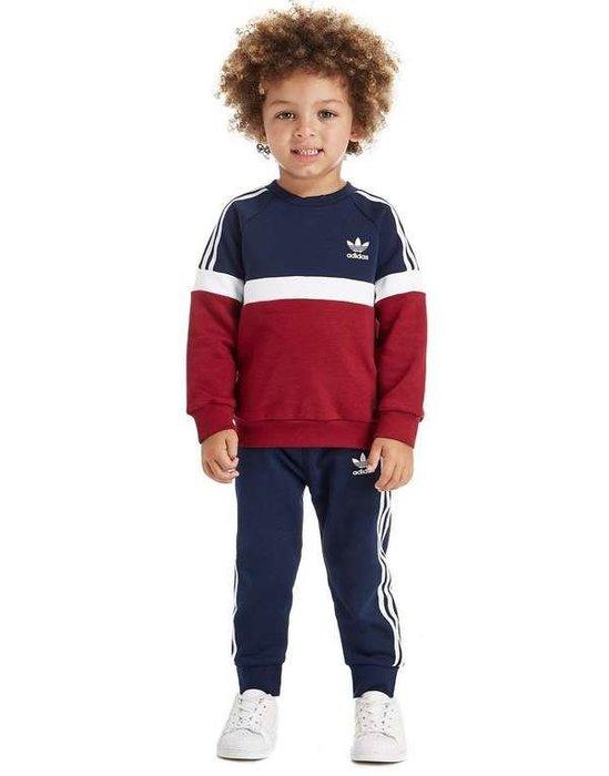 歐美JD代購 限量 adidas Originals 雙色拼接 長袖大學T 套裝 內有刷毛 小童裝 12-18M現貨