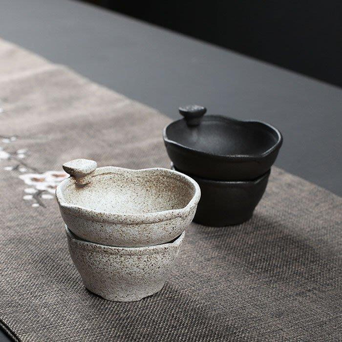 5Cgo【茗道】含稅會員有優惠粗陶整套茶漏網茶濾創意泡茶防燙茶葉過濾器黑白陶瓷功夫茶具配件