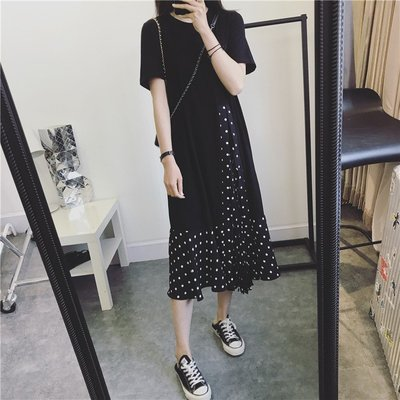 ☆ANGELA HOUSE☆韓國單 推薦韓國訂製棉拼接抽褶皺波點連身裙