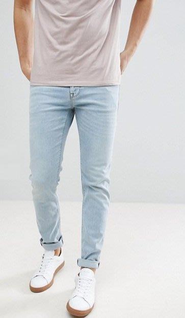 ◎美國代買◎ASOS代買淺藍刷色合身顯廋反摺褲口復古英倫時尚淺藍色合身牛仔褲~歐美街風~大尺碼~