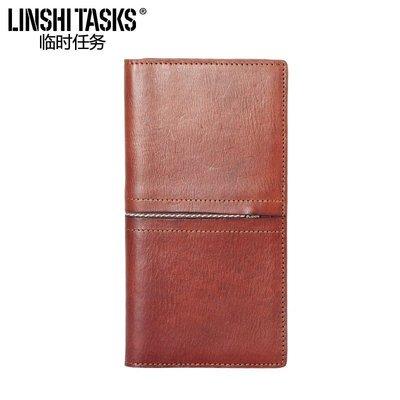 日韓包包小店LINSHI TASKS新款真皮錢包男青年皮夾休閒男士長款頭層牛皮錢夾潮LSRW16
