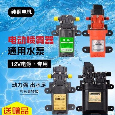 抽水機背負式電動噴霧器配件高壓水泵電機隔膜泵12v農用打藥機馬達雙泵