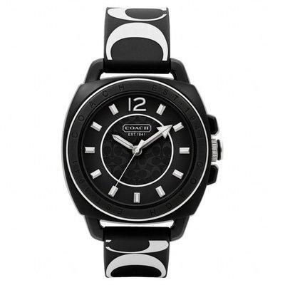 大降價!全新 COACH 黑底白色C logo 男朋友款橡膠印花錶帶女錶手錶,低價起標無底價!本商品免運費!