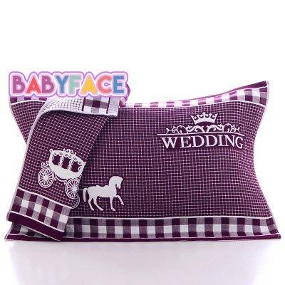 BabyFace【三層紗】雅痞貴族馬車款紗布料枕巾枕頭巾舒適透氣不悶多用途自用送禮可(50*75)
