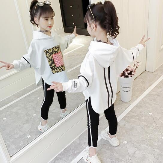 女童套裝 韓版童裝 中大童4-15歲 洋氣連帽t 印花蝙蝠衫兩件套潮 休閒套裝 莎芭