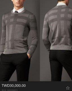 喬瑟芬【Burberry London】5折特價$15000含運~2015春夏 石灰色 格紋 絲質圓領 針織衫(男)