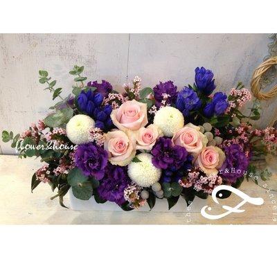 B61。期間限定。粉紫色系盆花。祝賀開幕生日喬遷。婚禮桌花。台北花店。【Flower&House花藝之家】
