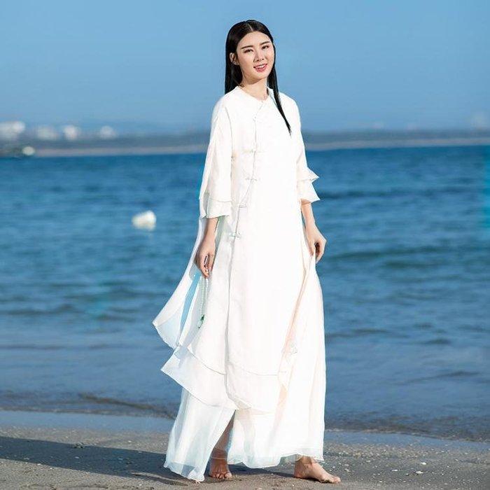 (可開發票)民族風套裝-盤扣女裝改良漢服旗袍雪紡連身裙套裝兩件套茶服禪(思戀青春)