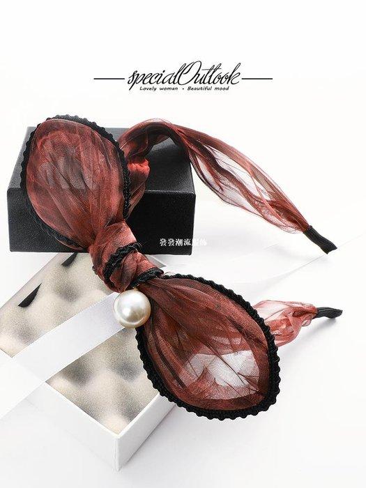 發發潮流服飾SO蝴蝶結髮箍超萌可愛髮飾韓國成人頭飾簡約寬邊布藝頭箍甜美頭窟