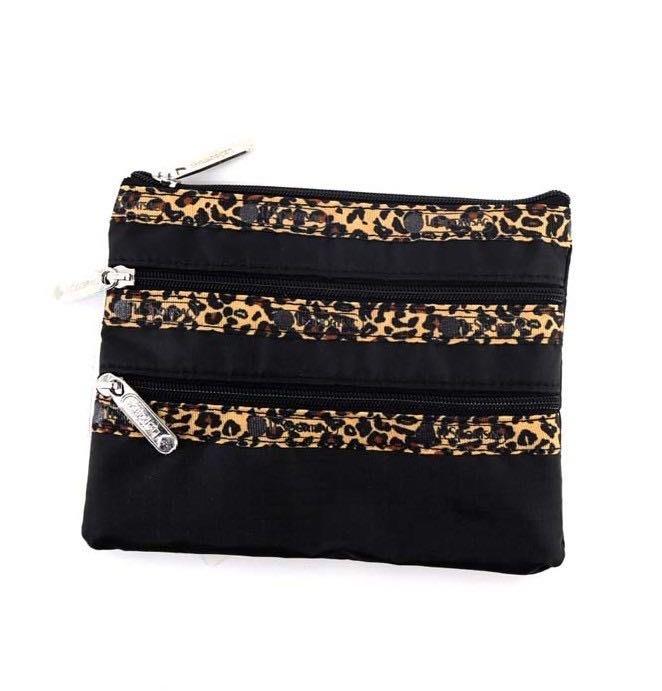 限量促銷商品 LeSportsac 黑底豹紋 3 zip 化妝包 收納袋 7158 降落傘防水
