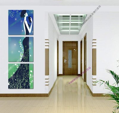 【30*30cm】【厚0.9cm】卡通女郎-無框畫裝飾畫版畫客廳簡約家居餐廳臥室牆壁【280101_296】(1套價格)