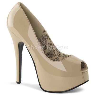 Shoes InStyle《五吋》美國品牌 BORDELLO 原廠正品漆皮厚底高跟魚口包鞋 有大尺碼『駝色』