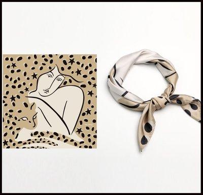 ~妖精的衣見鐘情~60cm復古豹紋絲巾時尚洋氣小方巾女綁發帶綁包飄帶
