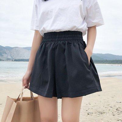韓版夏季女裝學生百搭松緊腰休閑褲學院風簡約純色高腰闊腿褲短褲
