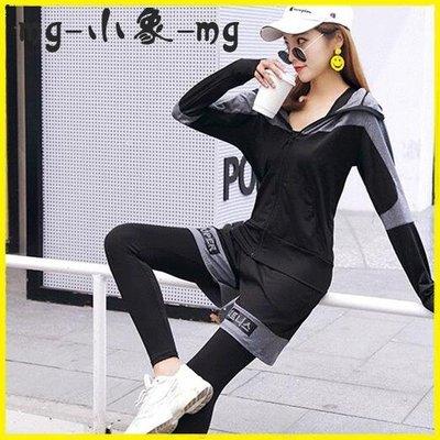 運動套裝 瑜伽健身服寬鬆健身房跑步運動套裝速干衣