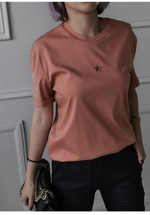 【鈷藍家】小眾品牌獨立設計 就算是T恤也要與眾不同 鏤空五星刺繡 圓領套頭T恤 短袖休閒T z