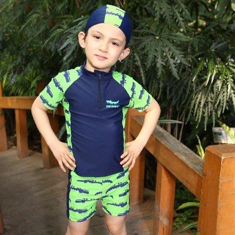 【小阿霏】兒童兩用溫泉泳衣附泳帽 男童卡通鱷魚兩件式泳裝泳褲 男孩速乾泳裝SW96