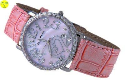 (六四三鐘錶精品店)GLOD STONE(真品).爪鑲鑽外框.藍寶石水晶鏡面.貝殼面.粉紅.