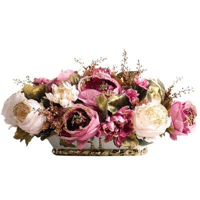 假花歐式宮廷牡丹仿真花藝套裝擺件美式玫瑰裝飾假花客廳餐桌玄關擺設不凋花