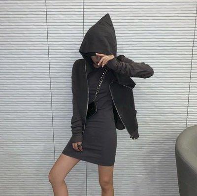 【黑店】歐美潮流基本款兩件套裝 合身背心洋裝+小外套整套套裝 簡約套裝 運動風套裝 夜店穿搭 素色洋裝套裝 AK108