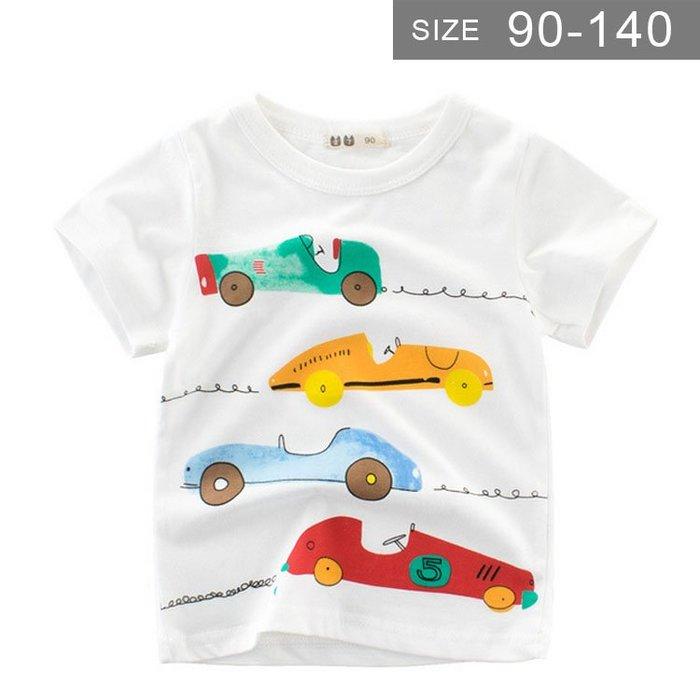 男童短袖T恤。ROUROU童裝。夏男童中小童100%棉汽車圓領短袖T恤 0121-414