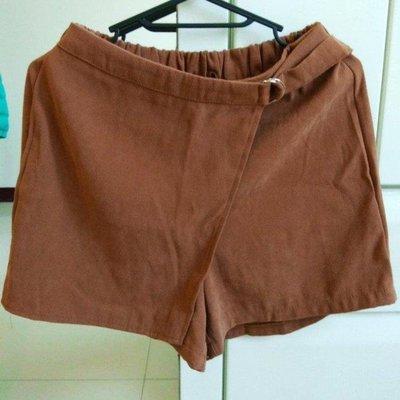 棕色微毛呢褲裙f