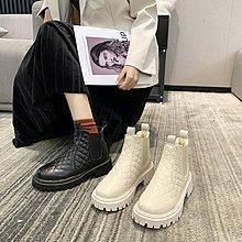 小香風短筒雪地靴女2020冬季新款加絨保暖厚底切爾西 馬丁靴 瘦瘦靴
