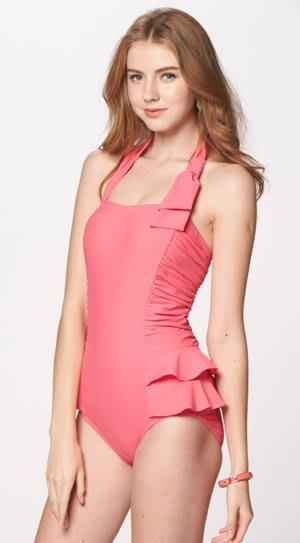 ~有氧小舖~名人專櫃品牌泳裝 繞頸粉色腰身抓皺修荷葉邊修飾連身三角泳衣 束腹 A2553-34