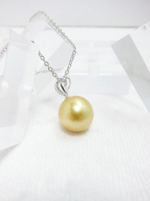 11.5mm南洋黃金珠18K鑲鑽墜子【元圓珠寶】