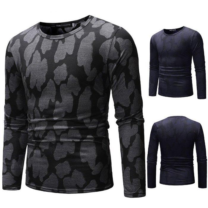 『潮范』  N4 男士外貿鏤空3D幾何圖案T恤 亞馬遜Wish嘻哈夜店長袖T恤 撞色T恤